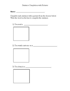 Sentence Completion with Pictures: Simple