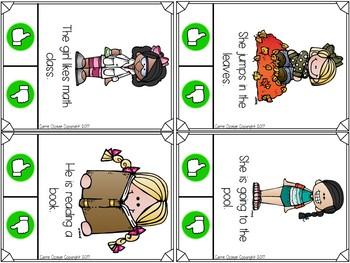 Sentence Comprehension Fluency Clip Cards