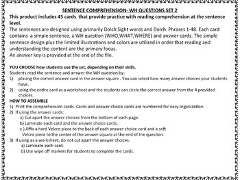 Sentence Comprehension  WH Questions Set 2