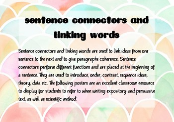 Sentence Connectors and Linking Words Poster Pack
