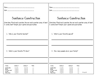 Sentence Construction Assessment