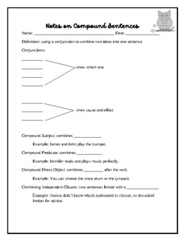 Sentence Construction: Compound Sentences (Worksheets, Quiz, and ...