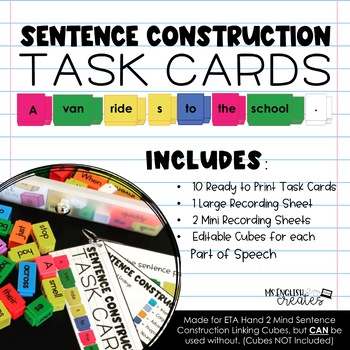 Sentence Construction Task Cards (Editable)