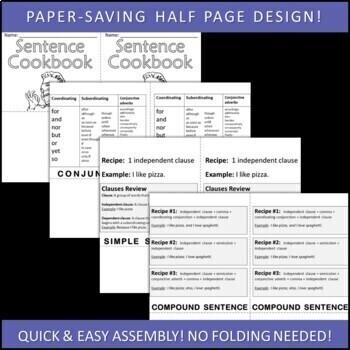 Sentence Structure & Variety Sentence Cookbook Foldable