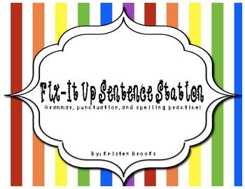 Sentence Correction! (Literacy Station Activity)