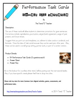 Sentence Correction Performance Task Cards
