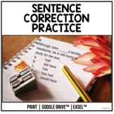 Sentence Correction Practice With Detailed Answers | Digital and Printable