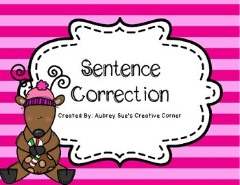 Sentence Correction Reindeer Themed