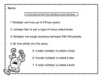 Sentence Correction Reindeer Themed