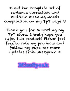 Sentence Correction and Multiple Meaning Words {Sample}