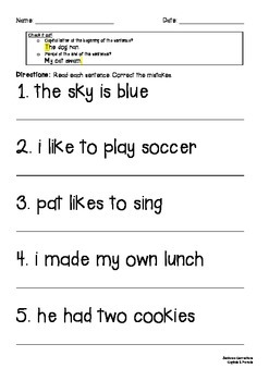 Sentence Corrections Capitals & Periods Only (Writing Conventions CCSS Aligned)