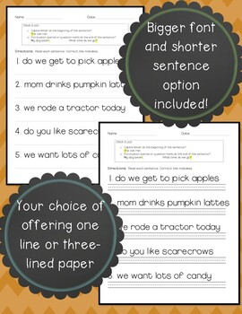 Sentence Corrections Capitals, Statements and Questions! (Fall Edition)