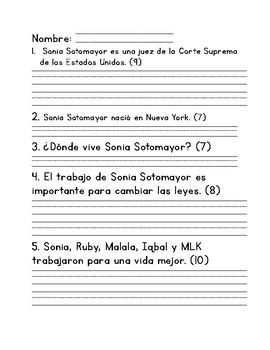 Sentence Corrections in Spanish/Dictados Biography Themed