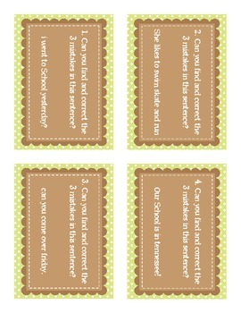 Sentence Corrections task cards