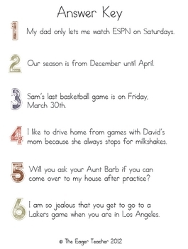 Sentence Correctors (Punctuation, Capitalization)- Basketball Themed