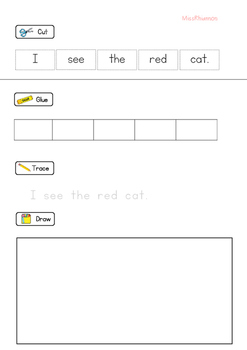 Sentence Cut Paste Trace Worksheet