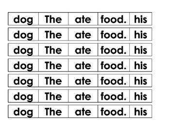 Sentence Cut Up - Dog ate food