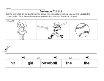 Sentence Cut Up - Girl Baseball - 1st