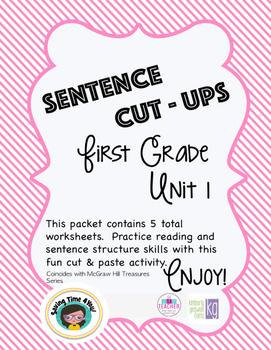 Treasures Spelling List Unit 1 A Sentence Cut Ups Activity