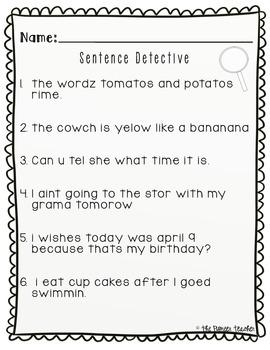 Sentence Detective {Fixing Grammar, Spelling, Punctuation}