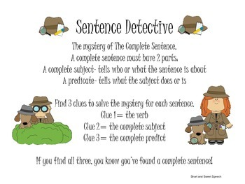 Sentence Detective: Subjects and Predicates