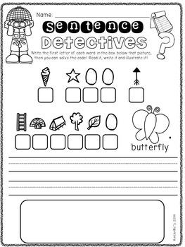 sentence detectives kindergarten sentence worksheets by kindermolly. Black Bedroom Furniture Sets. Home Design Ideas