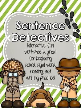 Sentence Detectives - Kindergarten Sentence Worksheets