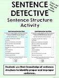 Sentence Detective - Sentence Structure Activity