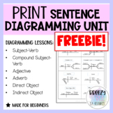 PRINT Sentence Diagramming Unit FREEBIE - Adjectives Lesson