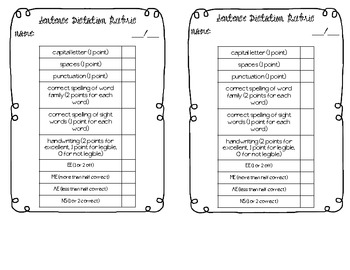Sentence Dictation Rubric