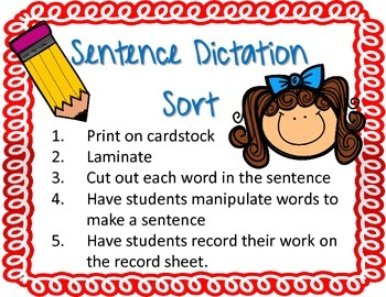 Sentence Dictation Sort and Record