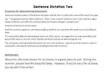 Sentence Dictation: Writing Progress Monitoring and Formative Assessment