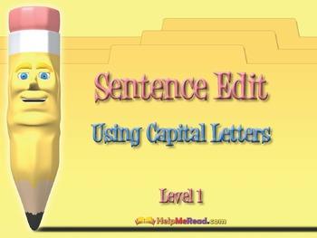 Sentence Edit - Using Capital Letters Smartboard