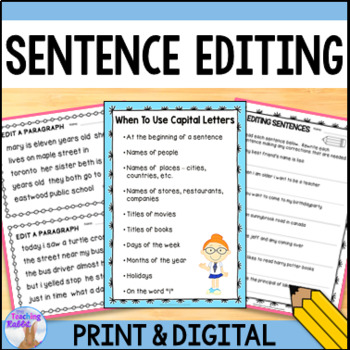 Sentence Editing by The Teaching Rabbit | Teachers Pay Teachers
