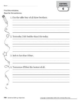 Sentence Editing: Adjectives