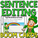 Sentence Editing Boom Cards (Digital Task Cards) Facts about St. Patrick's Day
