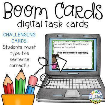 Sentence Editing Boom Cards (Digital Task Cards) for Grades 3, 4, and 5