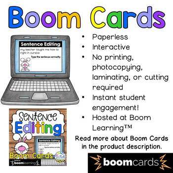 Sentence Editing Boom Cards (Digital Task Cards) for Third Graders