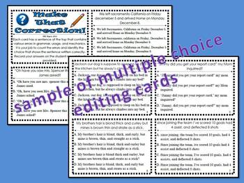 Sentence Editing Cards and Activities