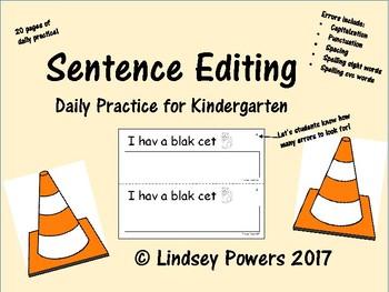 Sentence Editing Daily Practice for Kindergarten