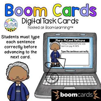 Sentence Editing: Mary McLeod Bethune Boom Cards (Digital Task Cards