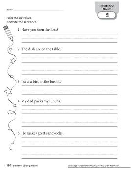 Sentence Editing: Nouns