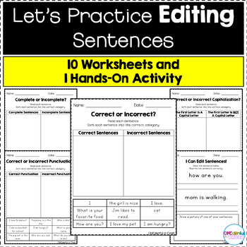 Sentence Editing Practice - Worksheets and Hands-On Activity