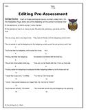 Sentence Editing Pre-Assessment w/ Answer Key