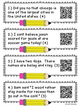 Sentence Editing QR Code Task Cards