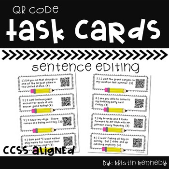 Sentence Editing QR Code Task Cards