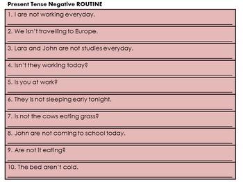 Present Tense - Sentence Editing Strips