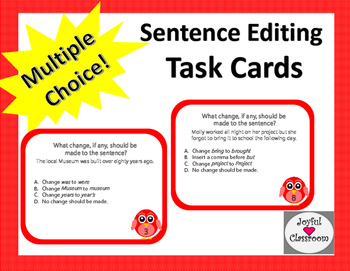 Sentence Editing Task Cards Set 1