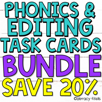 Sentence Editing Task Cards (Phonics) for First and Second Graders BUNDLE