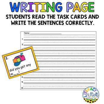 Sentence Editing Task Cards (ai and ay Words) for First and Second Graders
